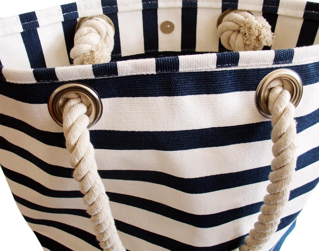 maritime strandtasche aus robustem segeltuch farbe blau wei. Black Bedroom Furniture Sets. Home Design Ideas