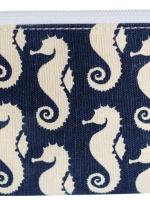 Kulturbeutel Kosmetiktasche - Strandbeutel aus Segeltuch. Seepferdchen Design