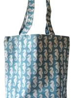 Strandtasche - Shopper aus Cotton. Maritime Strandtasche Seepferdchen Design
